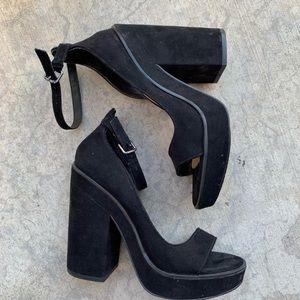 ZARA classic black suede platform block heels